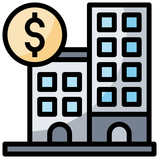 and, bank, banking, buildings, business, columns, finance icon