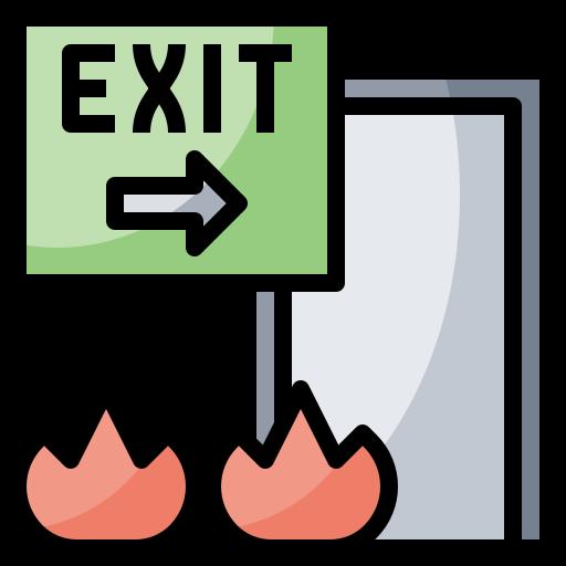 arrow, direction, door, emergency, exit, signaling, signs icon
