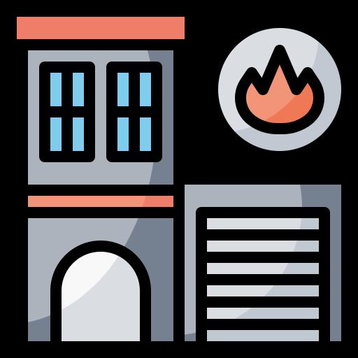 buildings, emergencies, fire, firefighters, firemen, station icon