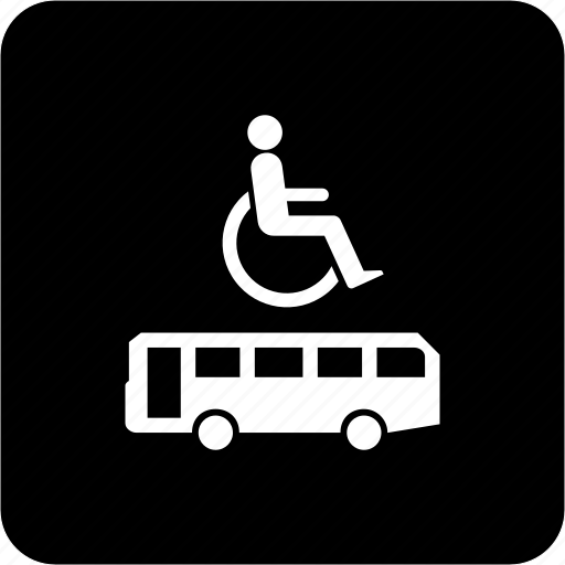 accessible bus, bus stop for wheelchair user, sign, space for wheelchair user icon