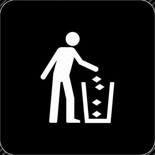 bin, delete, dustbin, garbage, litter basket, litter bins, recycle icon