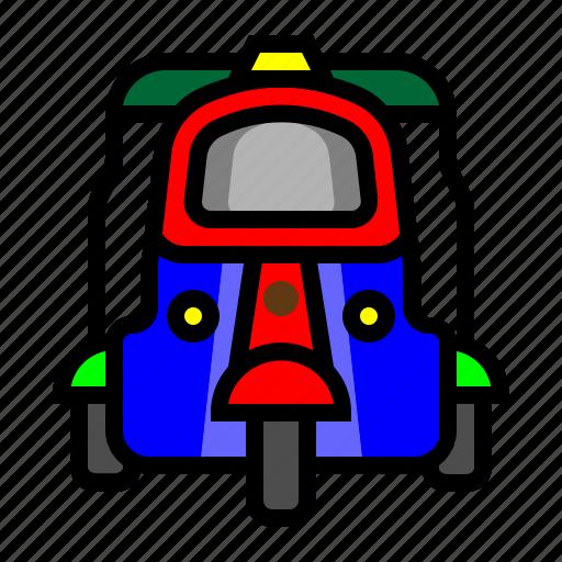 pedicab, public transportation, transportation, tuk tuk icon
