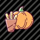 snack, halloween, fries, pumpkin