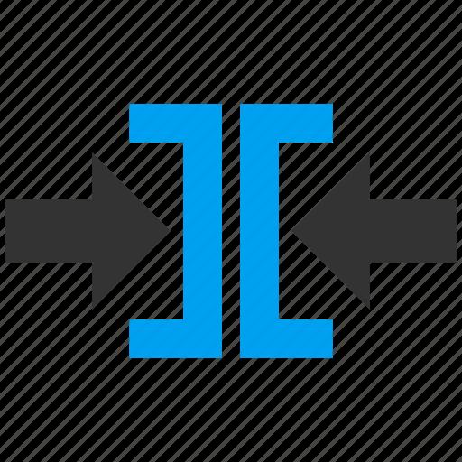 arrows, compress horizontal, compression, minimize, pressure, reduce, shrink icon