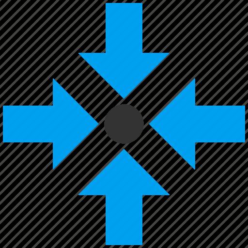 combine, compression, minimize, press arrows, pressure, reduce, shrink icon