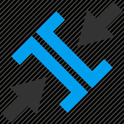 Compress, compression, diagonal pressure, minimize, press arrows, reduce, shrink icon - Download on Iconfinder