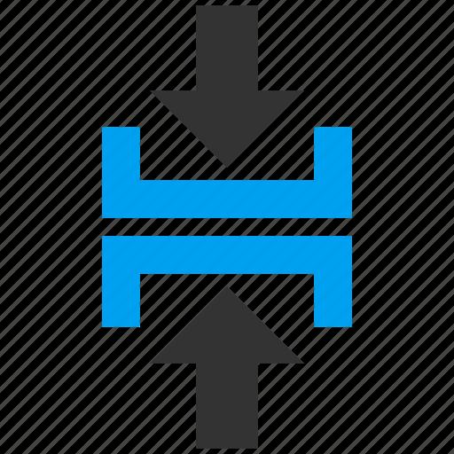 compress vertical, compression, impact, minimize, press arrows, pressure, shrink icon