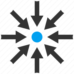 collapse, collide arrows, compress, meeting point, pressure, resize, shrink icon