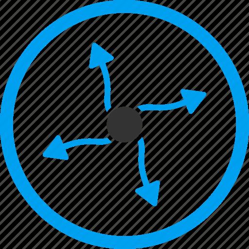 curve arrows, direction, participle, photon, physics, plasm, quark icon