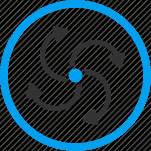 arrows, fan rotation, hurricane, motor, rotate out, stream, wind turbine icon