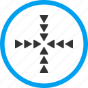 collide arrows, inside direction, meeting point, navigation, pointer, resize, shrink icon