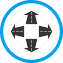 arrows, intersection, move, navigation, pointer, road directions, variants icon