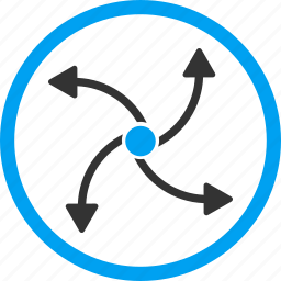 circular arrows, hurricane, reload, rotate out, spin, swirl direction, wind turbine icon