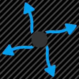 atom physics, curve arrows, expand, nuclear, photon, plasma, radiation icon