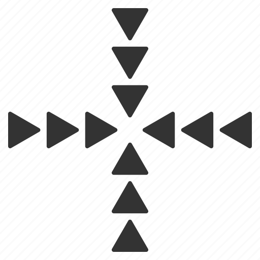 collapse, compress, inside direction, minimize, navigation, point, triangles icon