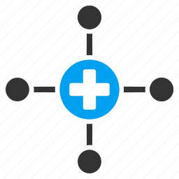 clinic scheme, company, connect, doctor, hospital, medical center, network icon
