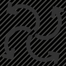 arrows, fan rotation, motor, rotate out, swirl, turbine rotation, wind turbine icon