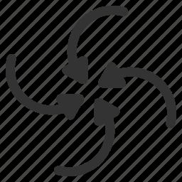hurricane, revolve, rotate, spin, swirl direction, twirl, vortex arrows icon