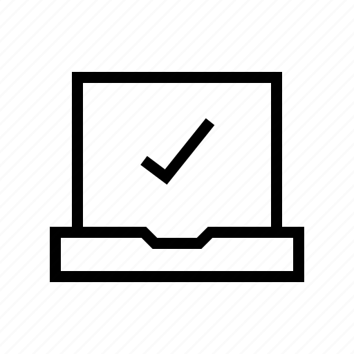 check, computer, data, hook, notebook icon