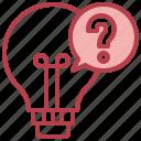 light, bulb, idea, curiosity, question, mark, knowledge