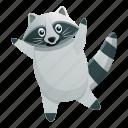 baby, happy, jump, love, raccoon, sport
