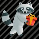baby, box, christmas, gift, raccoon, tree