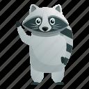 child, hand, hi, kid, raccoon, say icon
