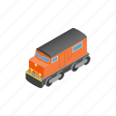 brown, cargo, colorful, colourful, isometric, locomotive, train icon