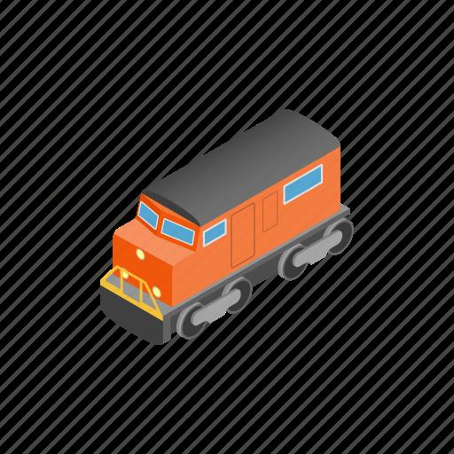 brown, cargo, colorful, colourful, isometric, locomotive, train icon