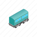 electric, isometric, passenger, railroad, railway, train, waggon icon