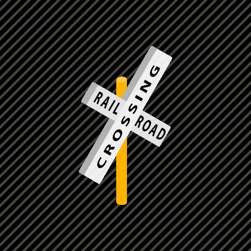 crossing, isometric, railroad, railway, road, train, way icon