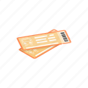 isometric, orange, rail, tickets, train, travel, way icon