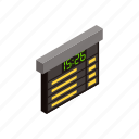 board, isometric, railway, schedule, time, time-table, train icon