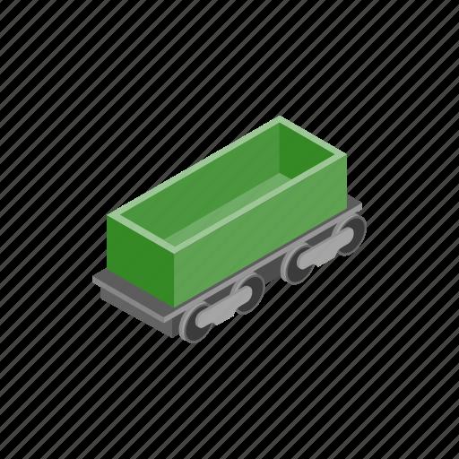 car, empty, freight, isometric, open, rail, train icon