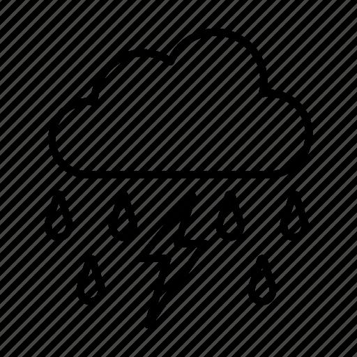 cloud, lightning, rain, raining, rainy, season, thunder icon