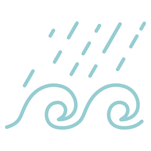 ocean, water, waves, waves and rain icon