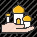 abrahamic, hand, islam, masjid, ramadan, religion icon