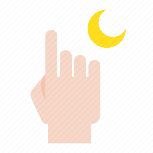 Abrahamic, finger, islam, moon, ramadan, religion icon - Download on Iconfinder