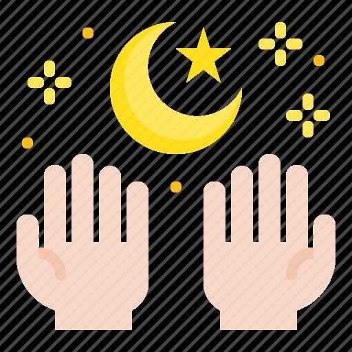 abrahamic, hand, islam, moon, ramadan, religion, salat icon