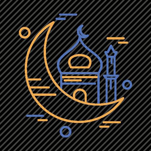 crecent, islamic, month, mosque, muslim, ramadan icon