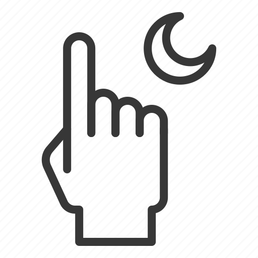 abrahamic, finger, islam, moon, ramadan, religion icon