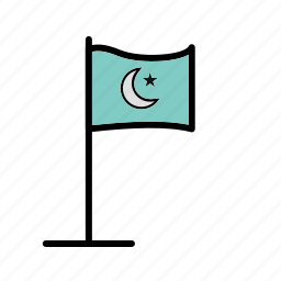 flag, islamic, map, marker, nation, pin icon