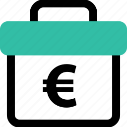 briefcase, case, euro icon