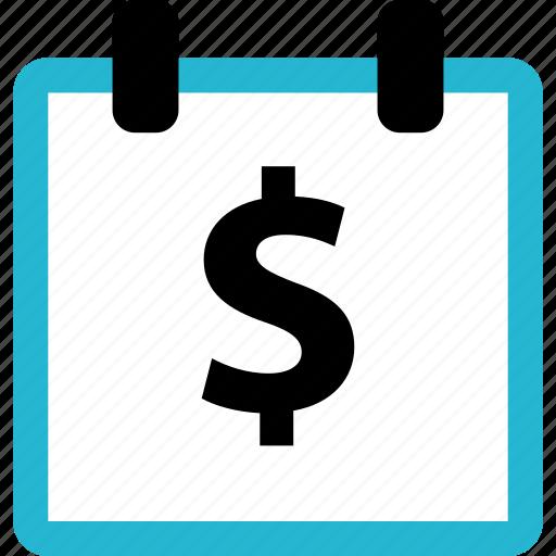 calendar, dollar, finance, online icon