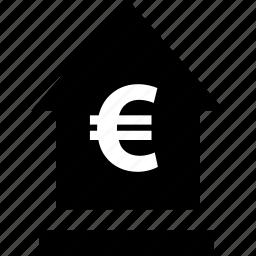 euro, explore, house icon