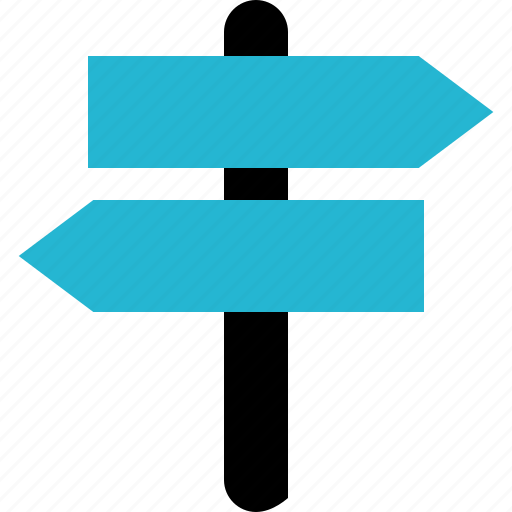 explore, sign, two, way icon