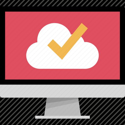 check, mark, monitor, online, web icon
