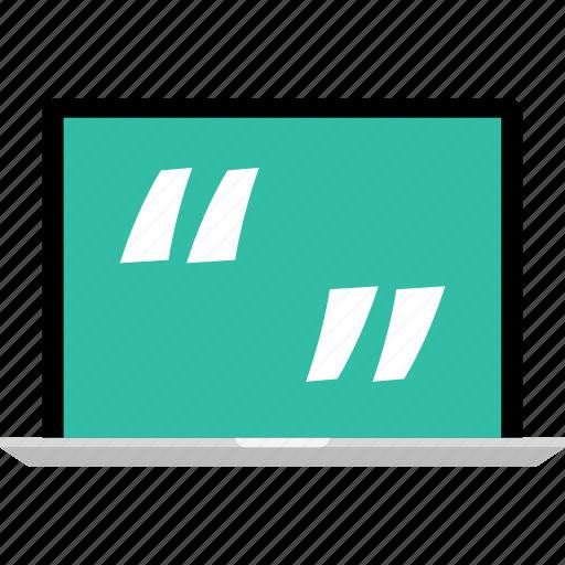 laptop, online, quotes, web icon