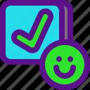 approve, classification, rank, smile icon