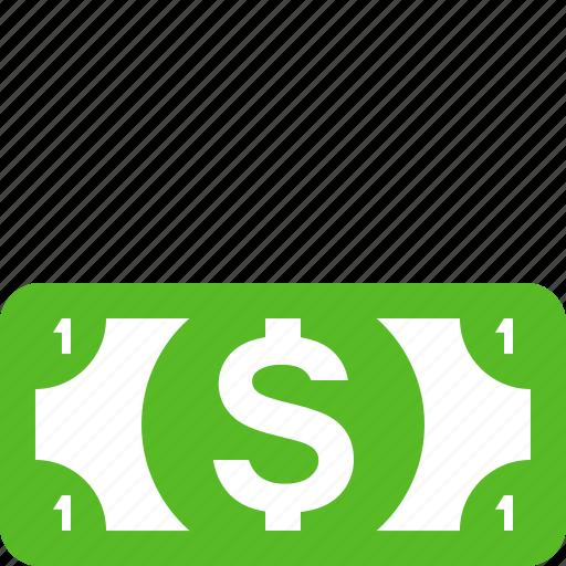 cash, currency, dollar, dollar bill, dollars, finance, one dollar icon